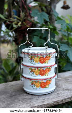 "Food containers for offering to monks Or for travel ,Translation of text on tiffin mean ""Rose Garden"" by Pimarn"