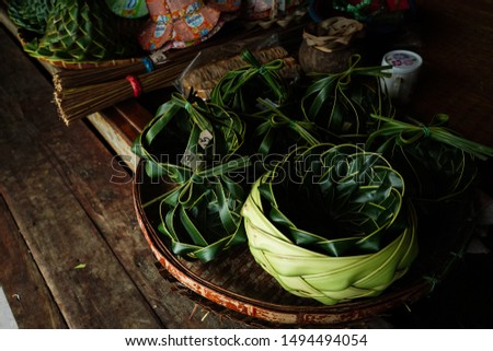 Food containers from coconut leaf, Natural product in Thailand