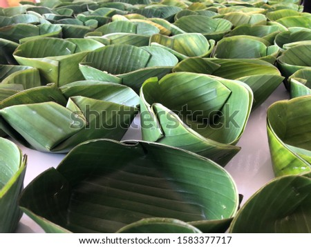 Food containers made from banana leaves.Using natural materials instead of plastic and foam.Reduce global warming concept.