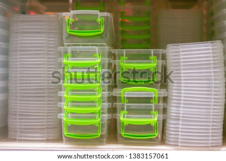 food containers on the shop counter. Multiple food containers