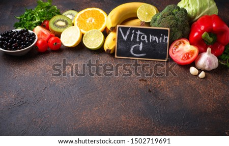 Food containing vitamin C. Healthy eating. Selective focus, space fotr text