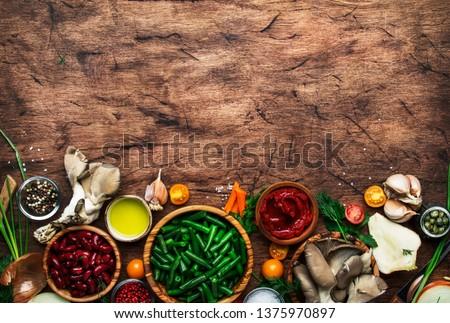 Fresh herbs on wooden cutting board  Flat lay food ingredients
