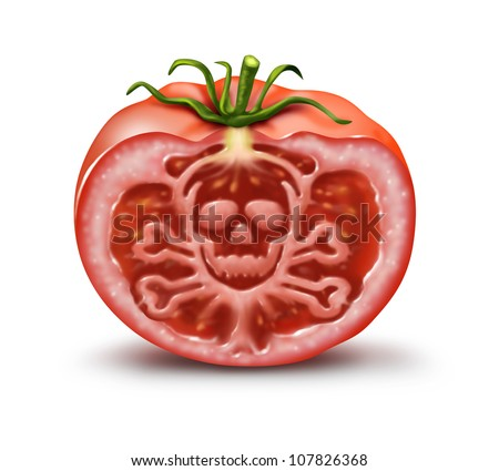 Food danger symbol for people with an allergy and allergic reactions or contaminated agricultural fresh market produce as a single tomato in the shape of a skull and bones hazard warning on white. - stock photo