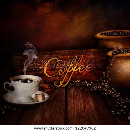 Food design - Coffee warehouse. Coffee cup with black coffee and sacks of coffee in the background. Coffee type on wooden background.