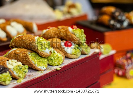 Food detail of gourmet cannoli.