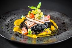 food elegant gourmet elegant black plate fish rice risotto exclusive fine