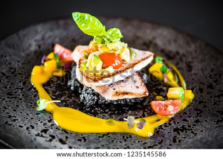 food elegant gourmet elegant black plate fish rice risotto exclusive fine