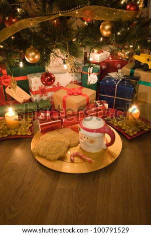 food for santa with Cookies and milk in a santa face shape mug