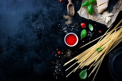 Food frame, italian food background, healthy food concept or ingredients for cooking pasta on a vintage background, top view with copy space