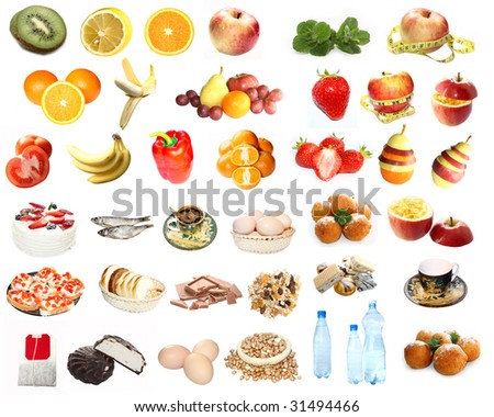 Food, fruit and vegetable set isolated on white
