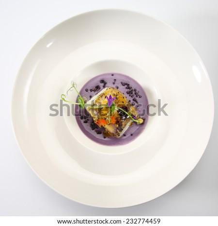 food gourmet cod hake flower purple potato