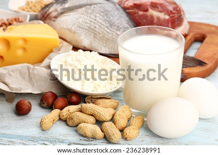 Shutterstock Food high in protein on table, close-up