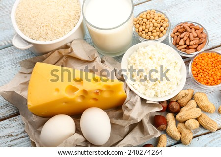 Food high in protein on table, close-up #240274264
