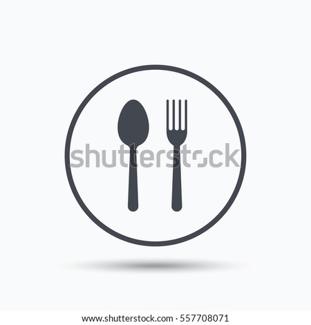 Food icons. Fork and spoon signs. Cutlery symbol. Circle button with flat web icon on white background.