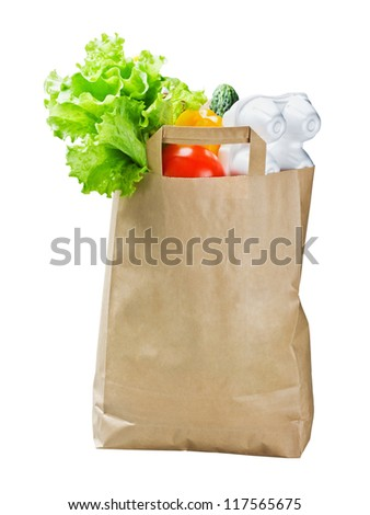 food in a paper bag isolated on white background
