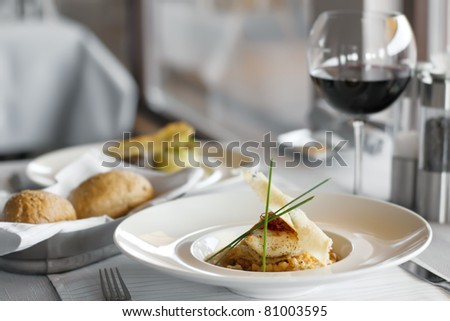 Food in restaurant on the table, appetizing