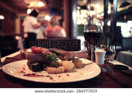 food in the restaurant, table, background #286977059