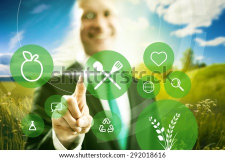 Food industry and clean eating business concept illustration