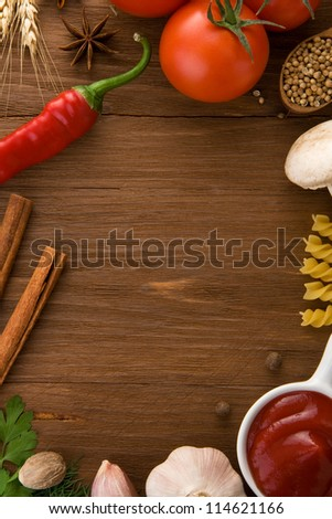 food ingredients and spices on wooden table