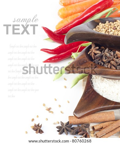 Food ingredients and vegetables with sample text