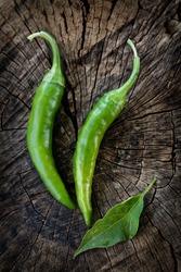 Food ingredients. Fresh green hot chili pepper