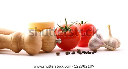 Food ingredients with tomatoes and garlic