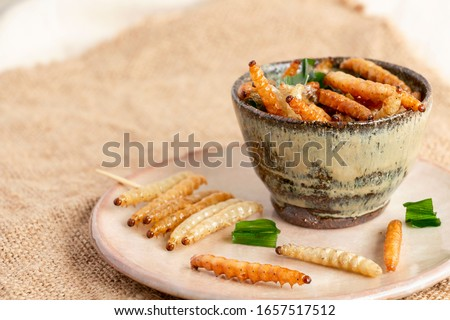 Photo of  Food Insects: Bamboo worm or Bamboo Caterpillar insect fried crispy for eating as food items in bowl and plate ceramic on sackcloth, it is good source of protein edible for future food concept.