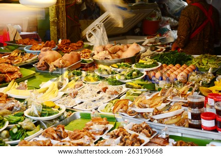 Food Lanna Style in morning at market in Chiang Rai, Thailand.