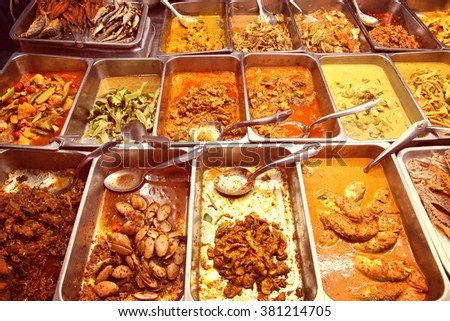 food market in bangkok thailand all you can eat buffet choice retro colors - Buffet Retro Cuisine