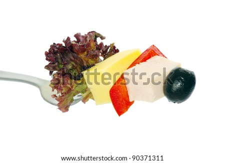 food on fork isolated on white background