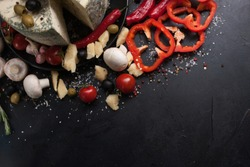 food photography art. gourmet blue cheese vegetables spices assortment mix concept