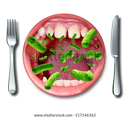 Food poisoning illness health concept with a dinner plate shaped as an open human mouth with dangerous bacteria as a risk of getting sick with health problems from rancid contaminated ingredients