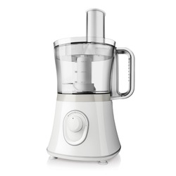 Food Processor Isolated on White Background. Electric Kitchen Small & Domestic Appliance. Modern Liquidiser Side Front View. White Countertop Blender. Silver Multifunction Mixer Smoothie Maker