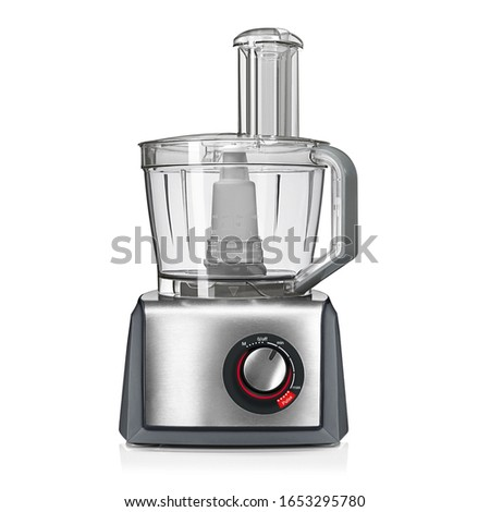 Food Processor Isolated on White Background. Electric Kitchen Small & Domestic Appliance. Modern Liquidiser Front View. Stainless Steel Countertop Blender. Silver Multifunction Mixer Smoothie Maker