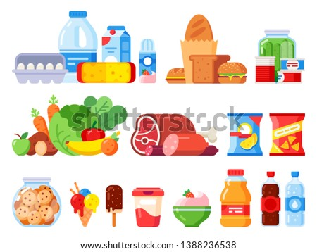 Food products. Packed cooking product, supermarket goods and canned food. Cookie jar, whipped cream and eggs pack. Supermarkets shopping, various vegetables flat  isolated icons set