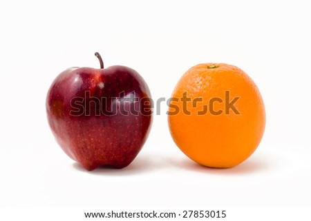 Food Related:  Apples and Orange Isolated on a White Background