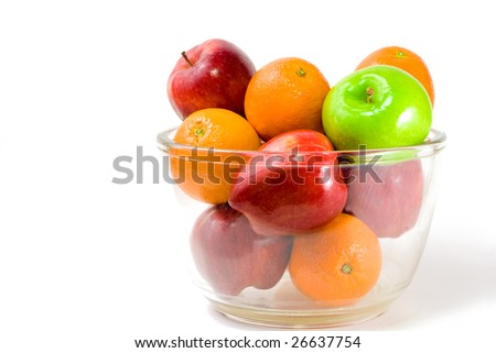 Food Related:  Bowl of Fruits in a Bowl, Isolated on a White Background