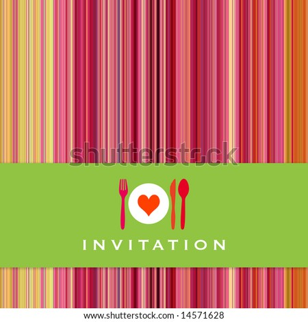 Food - restaurant - menu design with cutlery silhouette and background with vertical stripes