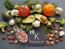 Food rich in potassium with the symbol K and atomic number 19. Natural products containing potassium. Healthy sources of potassium: avocado, spinach, cauliflower, beans, nuts, orange, tomato, broccoli