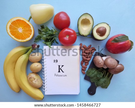 Food rich in potassium with the symbol K and atomic number 19. Natural products containing potassium, dietary fiber and minerals. Healthy sources of potassium.