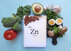 Food rich in zinc with the symbol Zn and atomic number 30. Natural products containing zinc, dietary fiber and vitamins. Healthy sources of zinc, healthy diet food.