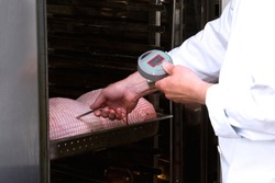 Food safety inspector using a probe thermometer to measure the temperature of food.