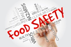 Food Safety word cloud with marker, concept background