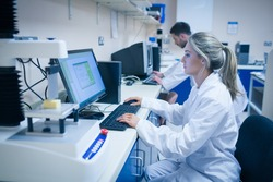 Food scientist using technology to analyse cheese at the university
