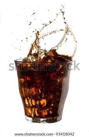 food series: cold cola with ice splash