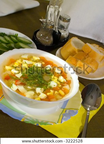 food series: fresh and tasty vegetable soup - stock photo