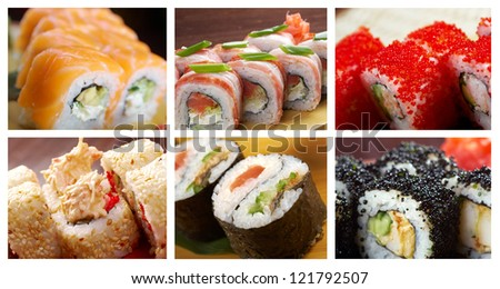 Food set of different Japanese Cuisine - Sushi Roll . collage