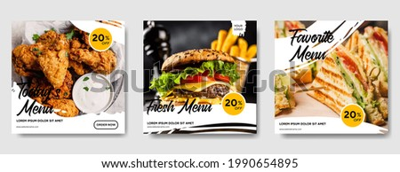 Food social media post template. high resolution. Set of square banner template design for food post. Suitable for Social Media Post restaurant and culinary. for post, web, ad.