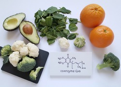 Food sources of Coenzyme Q10 with structural chemical formula of CoQ10. Antioxidant properties; helps generate energy in cells. Food rich in CoQ10: avocado, broccoli, orange, spinach, and cauliflower.