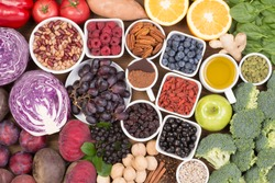 Food sources of natural antioxidants such as fruits, vegetables, nuts and cocoa powder.  Antioxidants neutralize free radicals